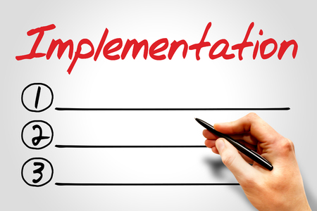implementation: Implementation blank list, business concept Stock Photo