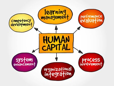 human capital: Human capital mind map, business management strategy concept