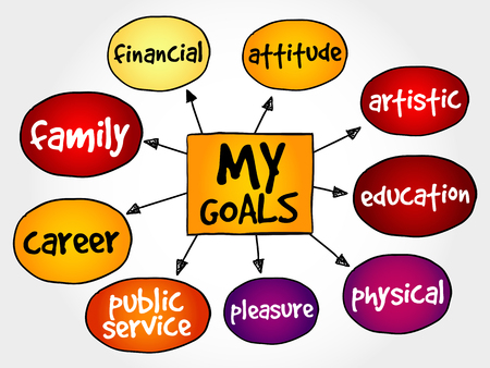 goals: My Goals mind map business concept Illustration