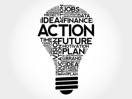 estimating: ACTION bulb word cloud, business concept Illustration