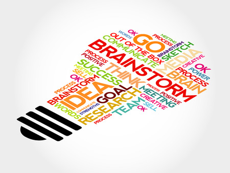 outside the box: Brainstorm bulb word cloud, business concept