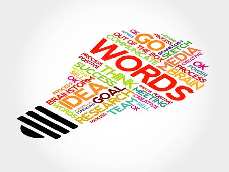 outside the box: Words bulb word cloud, business concept Illustration
