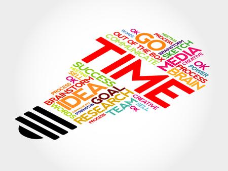 accomplishing: Time bulb word cloud, business concept