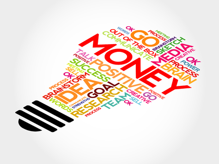 pecuniary: Money bulb word cloud, business concept
