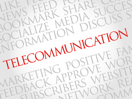 functionality: Telecommunication word cloud, business concept
