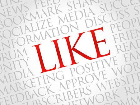 socialize: Like word cloud, business concept