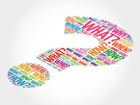 preguntando: Signo de interrogación, concepto Pregunta palabras vectorial