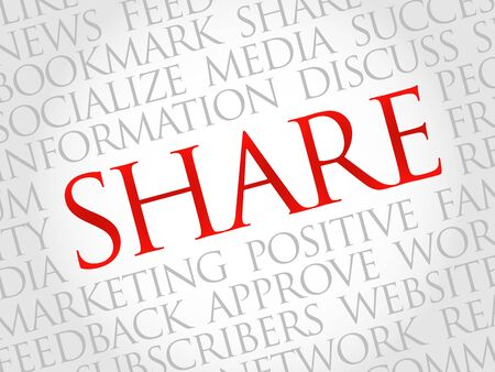 thumbup: Share word cloud, business concept Illustration
