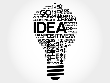 Idea bulb word cloud, business concept