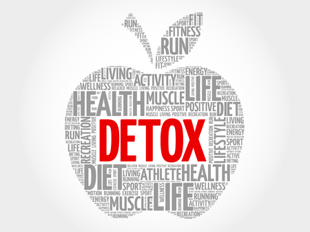 DETOX apple word cloud concept Çizim