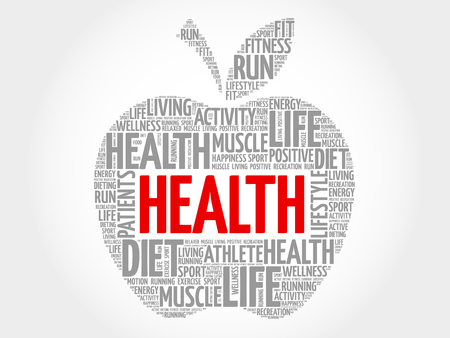 managed: Health apple word cloud concept Illustration