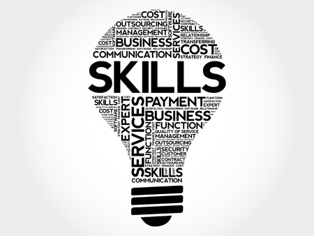 Skills bulb word cloud, business concept