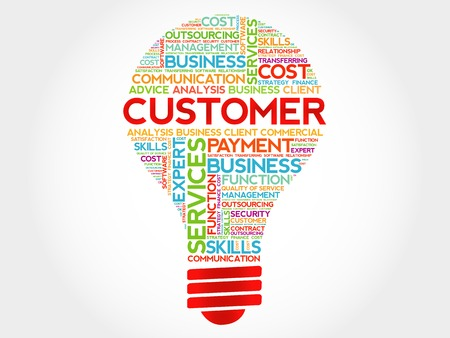 customer facing: Customer bulb word cloud, business concept