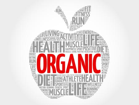 increase fruit: Organic apple word cloud concept