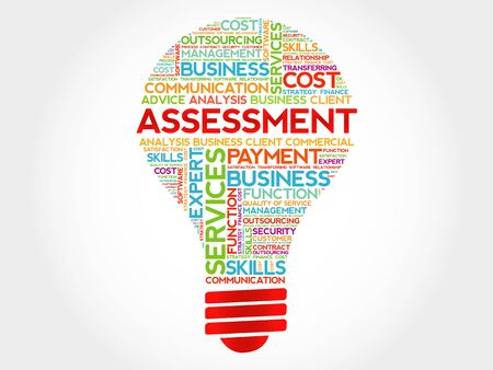 environmental analysis: Assessment bulb word cloud, business concept Illustration