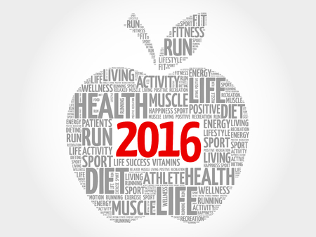 new years resolution: 2016 apple word cloud concept