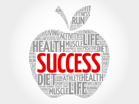 success concept: Success apple word cloud concept Illustration