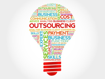 supplier: Outsourcing bulb word cloud, business concept