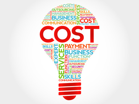 cost reduction: Cost bulb word cloud, business concept