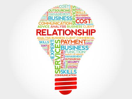 business relationship: Relationship bulb word cloud, business concept Illustration