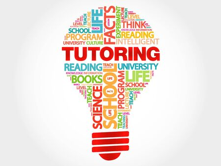 indoctrination: TUTORING bulb word cloud, business concept Illustration
