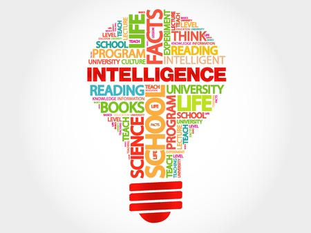 endings: Intelligence bulb word cloud, business concept
