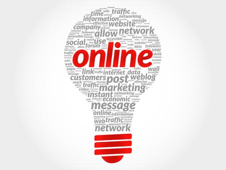 highspeed: Online bulb word cloud, business concept Illustration