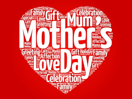 calendar day: Mothers day heart word cloud