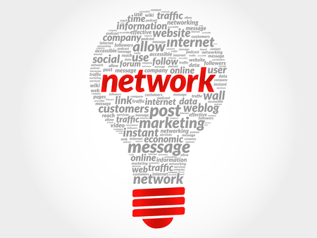 downtime: Network bulb word cloud, business concept Illustration