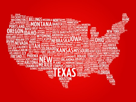 usa: USA Map word cloud with most important cities