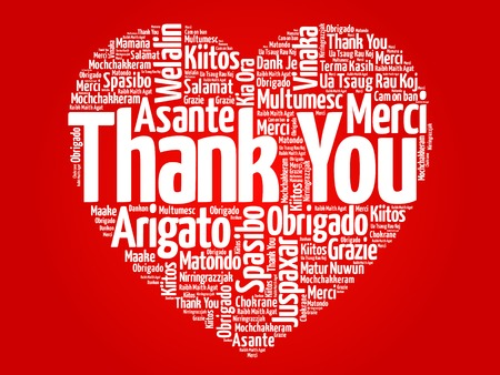 silhoette: Thank You in many languages love heart, red vector background Illustration