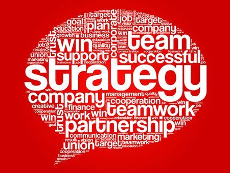 relationsip: Strategy Think Bubble Words Cloud, business vector concept Illustration