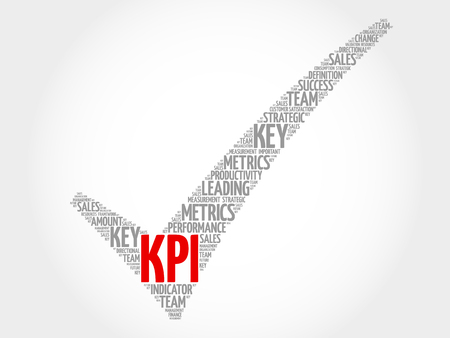 metrics: KPI - Key Performance Indicator check mark, vector business concept words cloud Illustration