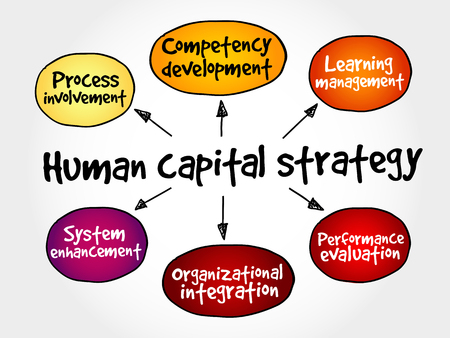Human capital strategy mind map, business concept Illustration