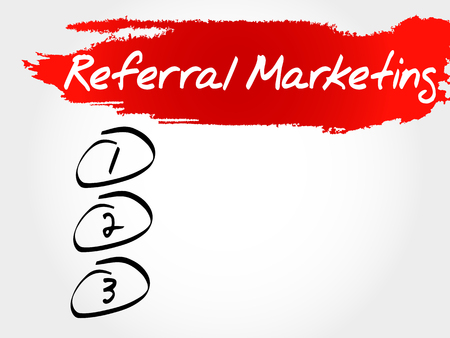 referral: Referral Marketing blank list, business concept