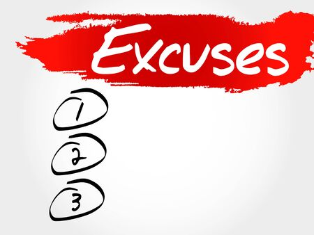 mitigating: Excuses blank list, business concept
