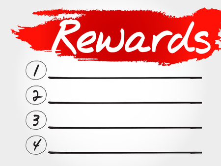 compensate: Rewards blank list, business concept