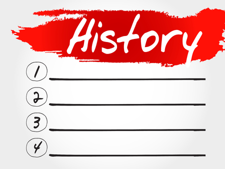 annals: History blank list, business concept