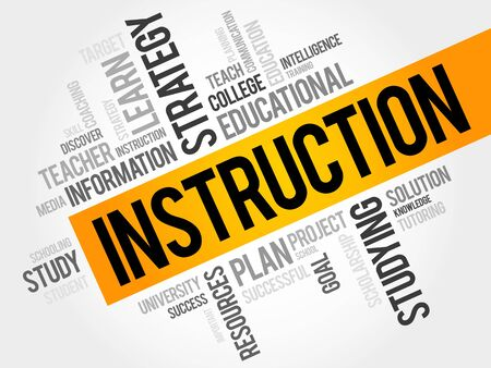 instru��o: INSTRUCTION word cloud, education concept