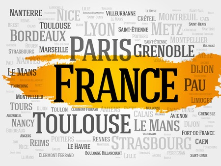 strasbourg: List of cities in France. Paris word cloud concept Illustration