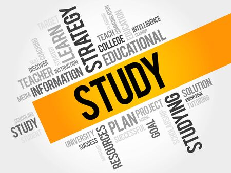 established: STUDY word cloud, education concept