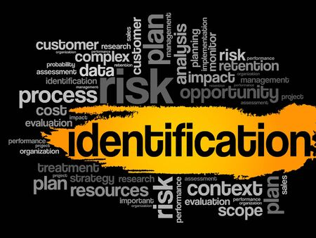 identification: Identification word cloud, business concept
