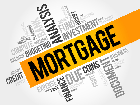 underlying: MORTGAGE word cloud, business concept Illustration