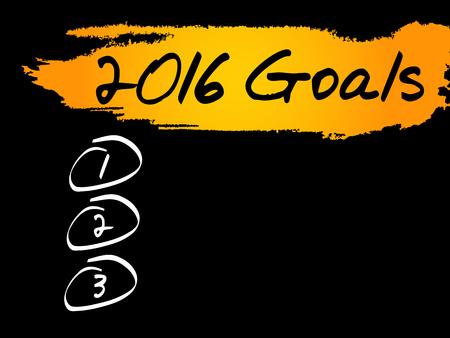 dedicate: 2016 Goals blank list, business concept