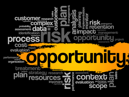 opportunity concept: Opportunity word cloud, business concept Illustration
