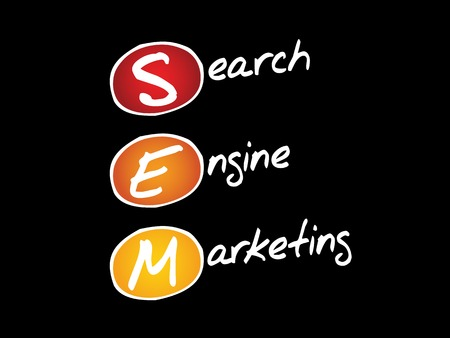 emarketing: SEM Search Engine Marketing, business concept acronym Illustration