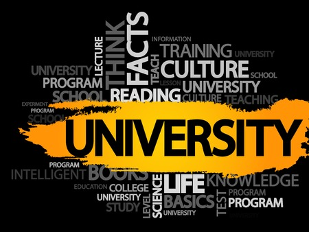 UNIVERSITY. Word business collage, vector background Illustration