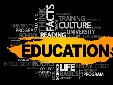 EDUCATION. Word business collage, vector background Illustration