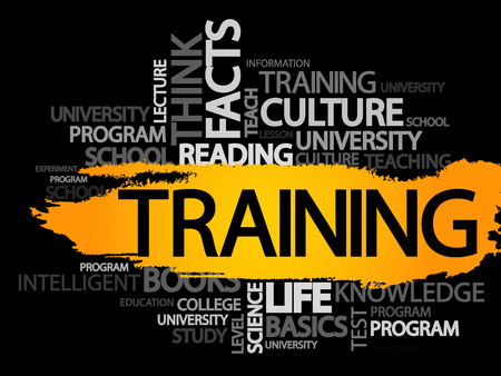 extramural: TRAINING. Word business collage, vector background