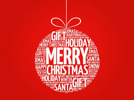 Merry Christmas, kerstbal woordwolk, vakantie belettering collage